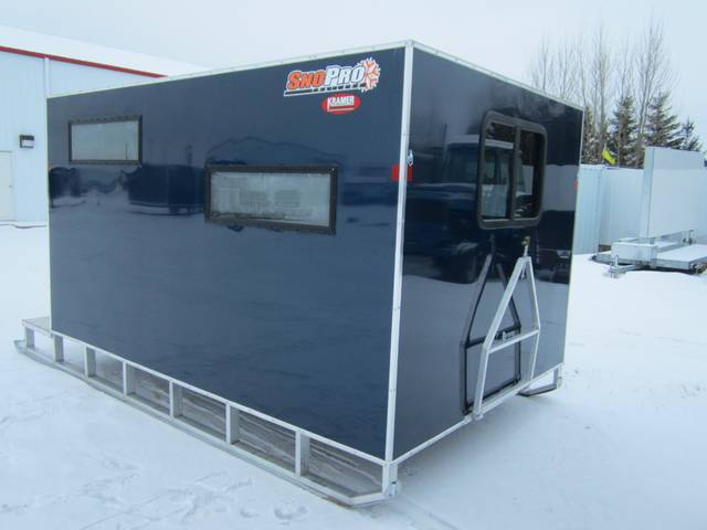 2015 sno pro 8 x 12 aluminum ice fishing shack kramer for Fish house skis