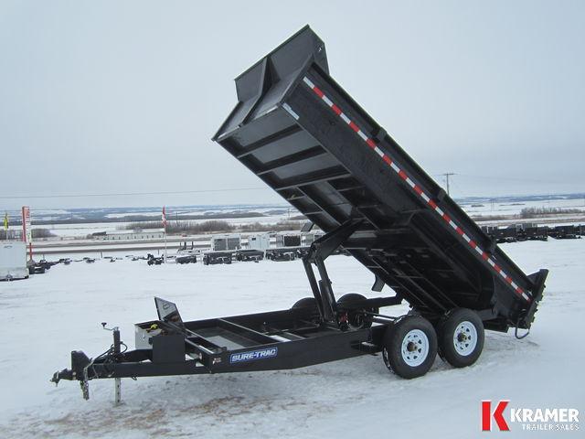 2017 Sure-Trac ST8216HLOD 16' Dump Box trailer (14K) Scissor