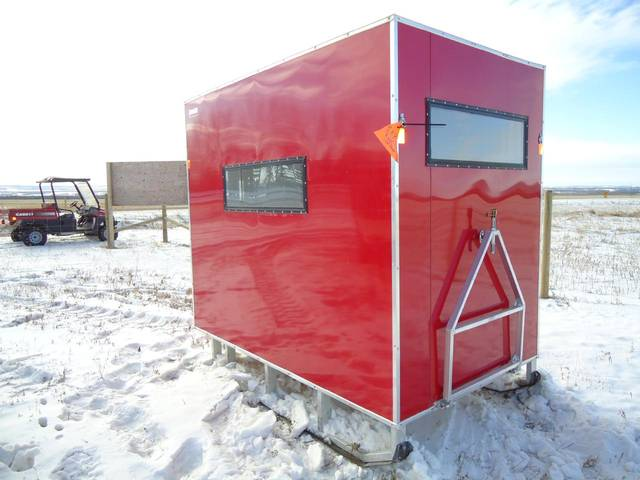 2012 sno pro 5 x 8 ice fishing shack win this ice shack for Aluminum fish house frame